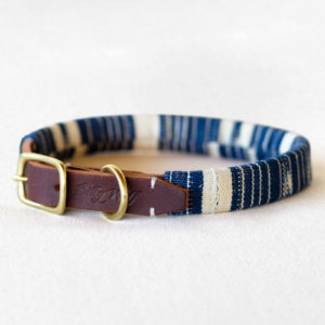 Billy Wolf Matching Indigo Ocean Dog Collar - Front