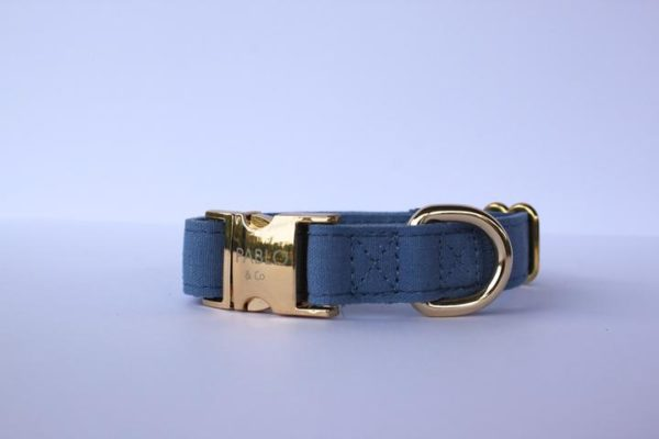 Pablo & Co. Denim Dog Collar in Blue - Right
