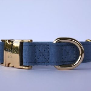 Pablo & Co. Denim Dog Collar in Blue - Front