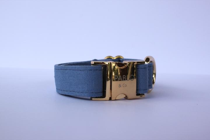 Pablo & Co. Denim Dog Collar in Blue - Left