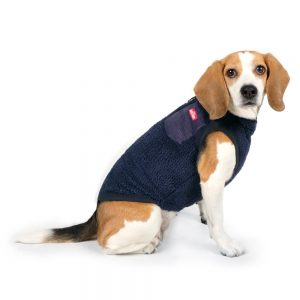 Charlie's Backyard Teddy Dog Vest With Pocket in Navy - Side