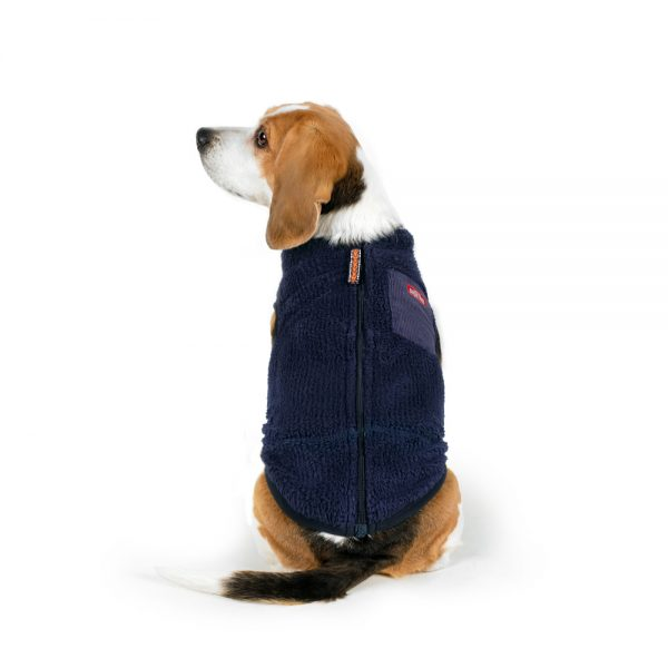 Charlie's Backyard Teddy Dog Vest With Pocket in Navy - Back