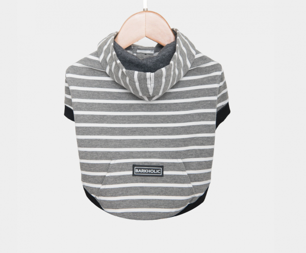 Barkholic Dog Hoodie Sweater in Grayson Stripes