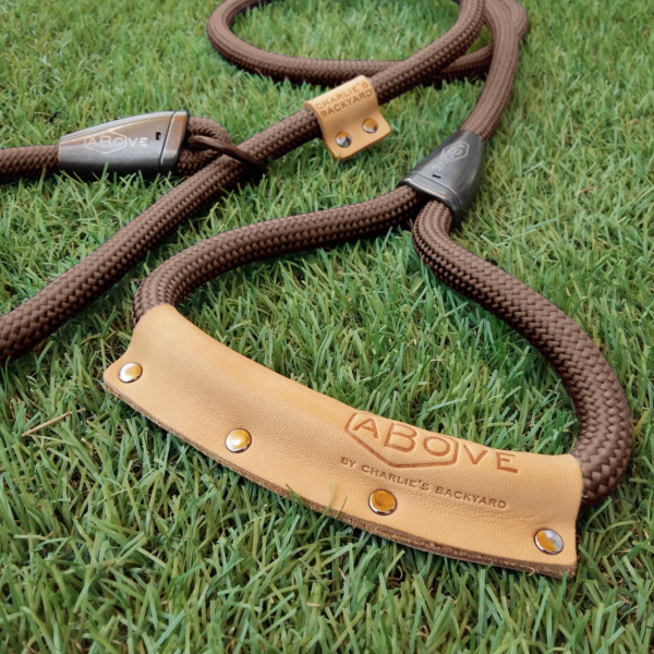 Charlie's Backyard Above Slip Leash in Brown - Detail