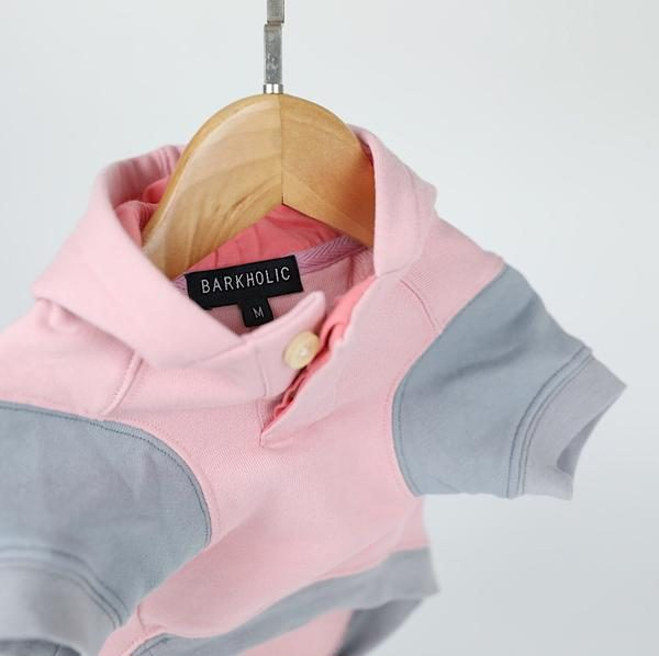 Barkholic Dog Sweater Hoodie Lena in Pink - Detail