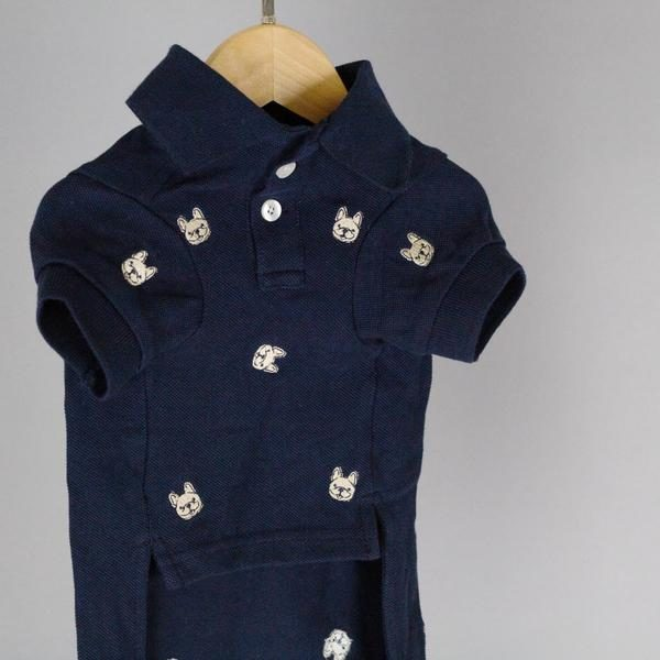 Barkholic Dog Polo Shirt in Navy - Front