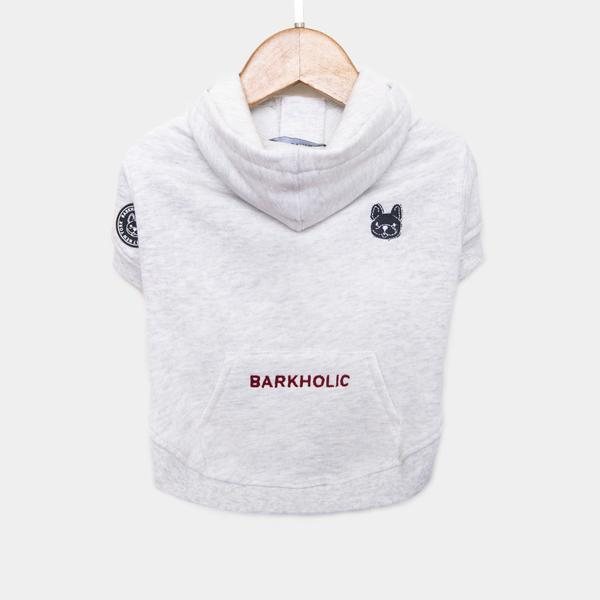 Barkholic Dog Sweater Hoodie Cotton Candy in White - Back