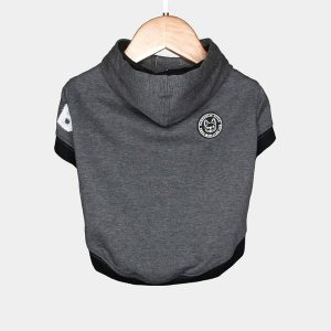 Barkholic Dog Sweater Hoodie in Gray - Back