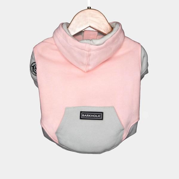 Barkholic Dog Sweater Hoodie Lena in Pink - Back