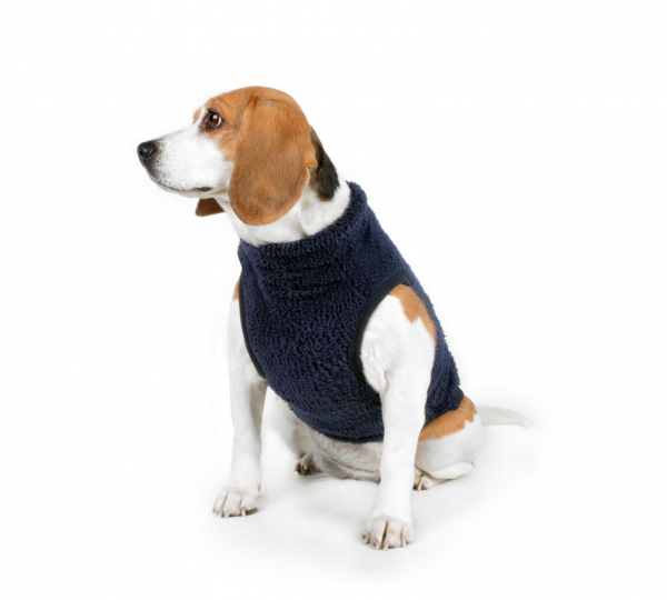 Charlie's Backyard Dog Teddy Fleece Vest with Pocket in Navy - Front