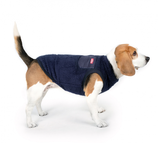 Charlie's Backyard Dog Teddy Fleece Vest with Pocket in Navy - Full-side